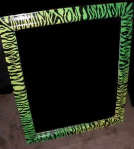 Neon Green & Yellow Zebra Mirror